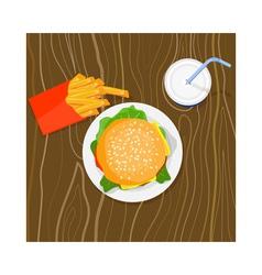 Burger Fries Drink Retro vector image