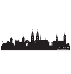Zurich switzerland skyline detailed silhouette vector