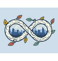 Wooden infinity shape with city vector