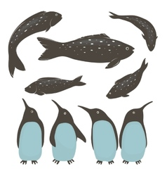 Penguins and fish collection vector