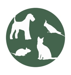 Silhouettes of of pets in a round frame vector image
