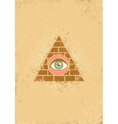 eye pyramid grunge vector image