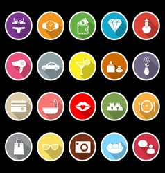 Lady related item flat icons with long shadow vector