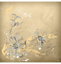 Pencil hand drawing flowers vector