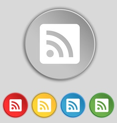 Rss feed icon sign symbol on five flat buttons vector