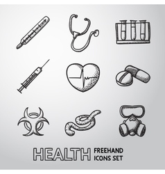 Medicine and health care colorful freehand icons vector