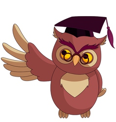 Wise owl with graduation cap vector
