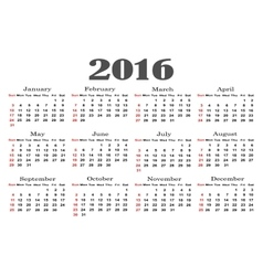 Calendar 2016 starting from sunday new year vector