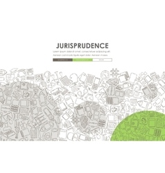 Jurisprudence doodle website template design vector