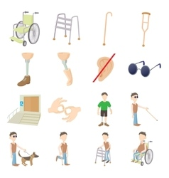 Disabled people care set vector