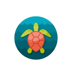Sea turtle icon summer vacation vector
