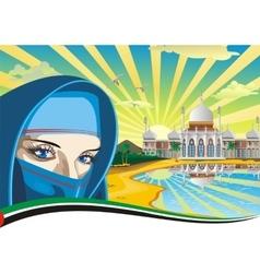 Arab beach Arabic Palace on the coast vector image vector image