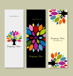 Banner set art tree design vector