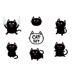 Black fat cat set nail claw scratch sitting vector