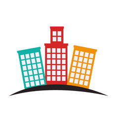 Buildings silhouette isolated icon vector