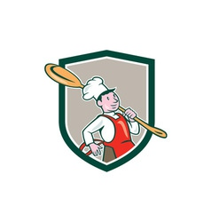 Chef cook marching spoon shield cartoon vector