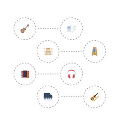 Flat icons musical instrument acoustic harmonica vector
