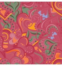 Heart red and orange pattern seamless vector image