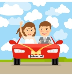 Just married in red car vector