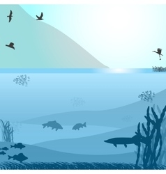 Lake with fish and birds near the mountain vector