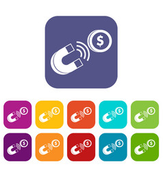 Magnet with coin icons set vector