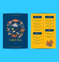 menu template for restaurant shop or cafe vector image vector image
