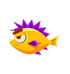 Pissed off yellow fantastic aquarium tropical fish vector