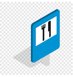 Restaurant road sign isometric icon vector