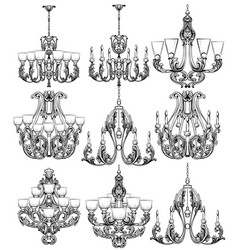 Rich baroque classic chandelier set luxury decor vector