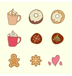 Set of coffee cookies and cakes vector