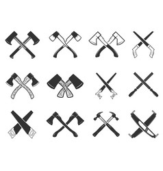 Set of the crossed carpenter tools design vector