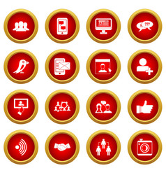 Social network icon red circle set vector