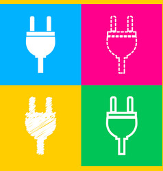 Socket sign four styles of icon on vector