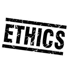 Square grunge black ethics stamp vector