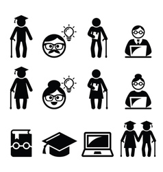University of the Third Age Senior education icon vector image