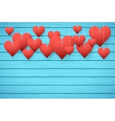 Wooden background with red hearts vector