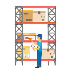 Worker putting bar codes on carton boxes on rack vector