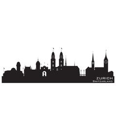 Zurich switzerland skyline detailed silhouette vector