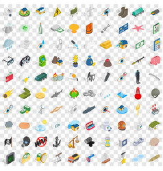 100 painful icons set isometric 3d style vector