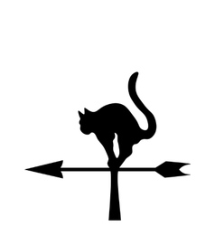 The black silhouette of a cat in a wind vane vector