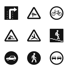 Sign on road icons set simple style vector