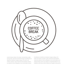 Cup of coffee flat line  espresso vector
