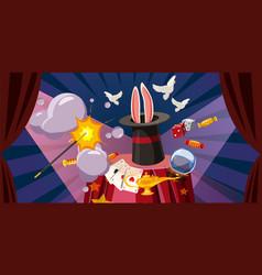 Magician explode banner horizontal cartoon style vector