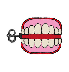 Wind up chattering teeth funny toy icon image vector
