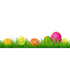 Happy Easter Border With Grass And Eggs Royalty Free Vector