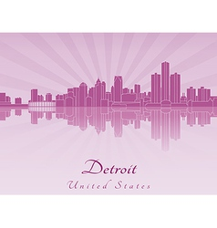 Detroit skyline in purple radiant orchid vector