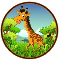 Giraffe cartoon on forest vector