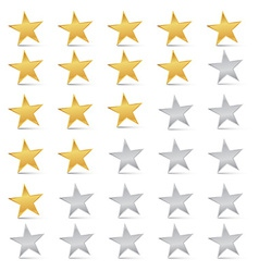 Gold and Silver Stars Set - Rating Symbols vector image