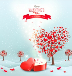 Valentines day landscape with heart shaped trees vector