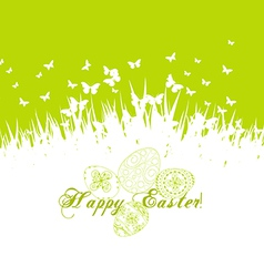Green easter eggs with grass vector